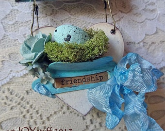 FRIENDSHIP - French Blue Spring Ornament - Egg - Bird - Heart - NO320a
