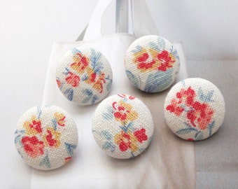 Retro Shabby Chic Blooming Red Yellow Rose Floral Flower Garden - Handmade Fabric Covered Buttons(0.87 Inches, 5PCS)