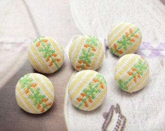 Spring Color Yellow Green Embroidery Nordic Floral Flower Stripes-Handmade Fabric Covered Buttons(0.55 Inches, 6PCS)