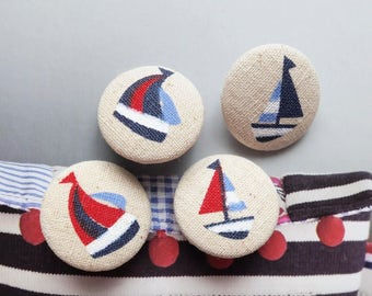 Nautical Marine Ocean Sea Red Dark Blue Summer Sailing Boats-Handmade Fabric Covered Buttons(0.98 Inches, 4PCS)