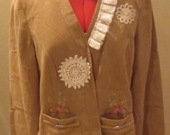 Upcycled jacket ladies 10-12 refashion khaki suede look hand embroidered vintage lace
