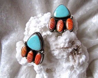 Vintage Silver Sleeping Beauty Turquoise & Oyster Shell Bear Paw Design By Ron Wesley Signed Earrings- Great Anniversary/ Birthday Gift