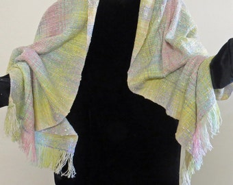 Ruana.  Handwoven. Colors of Spring-blossom pink and white,  new leaf green, daffodil yellow.