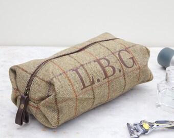 Personalised Tweed Initial Wash Bag