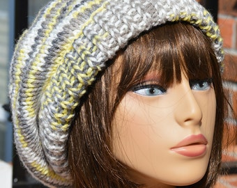 Knit Slouchy Hat - Knit Slouchy Gray and Yellow