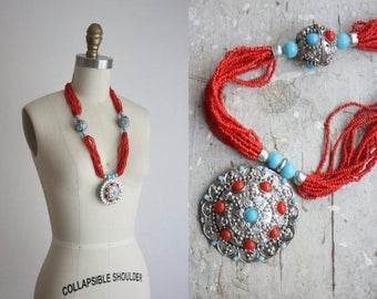 CLEARANCE. bohemian bead necklace / vintage multistrand necklace