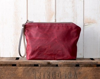 Waxed canvas pouch,utility pouch,cosmetic toiletry bag,travel pouch,bordeaux zipper pouch,christmas gift,back to school,gift for her,spring