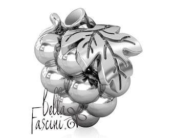 Wine Harvest Grapes Sterling Silver Bead Charm - Fits Pandora, Charmed Memories & Compatible Bangles and Bracelets -  BELLA FASCINI®  F-67