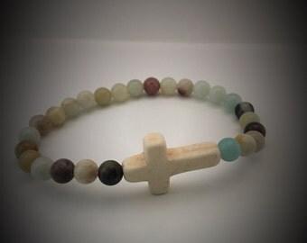 Beaded Cross bracelet, Cross bracelet, Amazonite beads, faith bracelet, Christian bracelet, Christian gift.  friendship bracelet