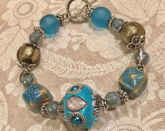 Ceramic, glass and lampwork bauble bracelet