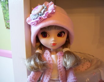 Two Piece Outfit for Pullip doll..Pink Hand Knitted Sweater and Matching Fleece Hat