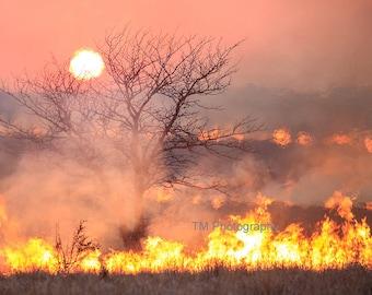 Burning Fields - Sunset - Kansas - Controlled Burn - Controlled Fire - Prairie - Tallgrass Prairie Preserve - Fine Art Photography
