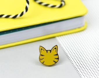 Little Brown Tabby Cat enamel pin - tabby cat - hard enamel pin badges - perfect cat lovers gift - crazy cat lady - kitty pin
