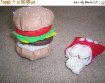 Flash Sale Felt Food Hamburger and French Fry Set - pretend food - cheeseburger - play food - play kitchen - build a hamburger - children  -