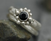 Blue Sapphire in Sterling Silver- Custom Made Two Ring Set