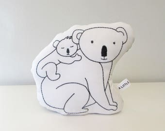 koala mother and baby pillow, koala cushion, plush koala, shaped pillow, animal pillow