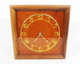 Vintage Mid Century Wall Clock with Square Wood Body and Lacquered Face. Circa 1960's.