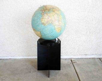 Vintage Modernist Illuminated World Globe by National Geographic. Circa 1970's.