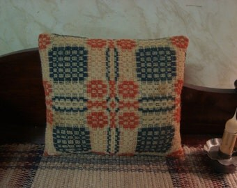 Beautiful Pillow From 1800s Woven Coverlet