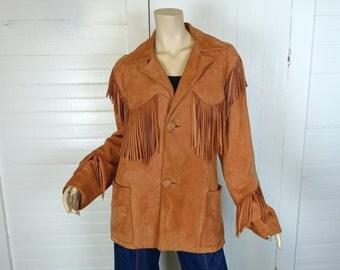 Suede Fringe Jacket in Tan- 1960s Men's Hippie / Cowboy / Festival Leather Jacket by Cherokee Togs