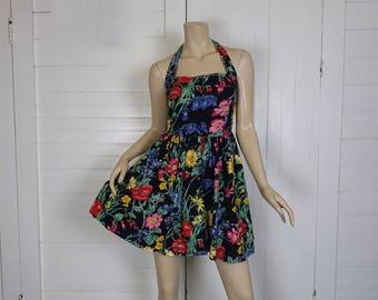 80s Mini Dress in Garden Flowers- 1980s Black & Multi Flowers- Halter Dress, Sun Dress- Small- Summer