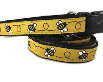 Dog Collar and Leash, Bumblebee, 6ft leash, 1 inch wide, adjustable, quick release, metal buckle, chain, martingale, hybrid, nylon