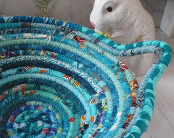 Turquoise Gypsy - Round Coiled Bohemian Basket - Handmade by Me