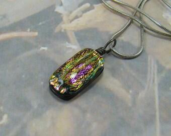 Vintage Dichroic Necklace Beautiful Shiny Colors  Bar Shaped Pendant Stunning Foil Colors Quality Chain PLUS a Bonus :)