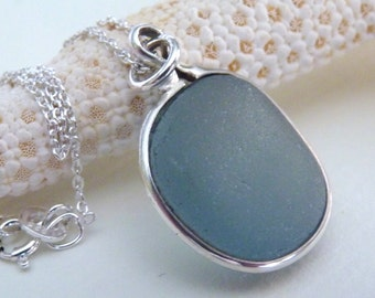 Blue Sea Glass Necklace Pendant - Genuine English Seaglass - Sterling Silver Chain - MOUNTAIN SKY