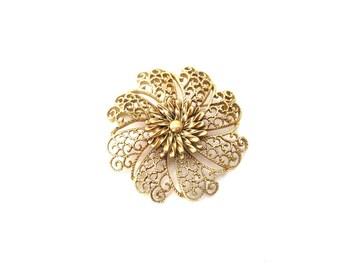 Chunky Vintage Signed Monet Gold Tone Metal Circular Shaped Large Floral / Flower Filigree Brooch