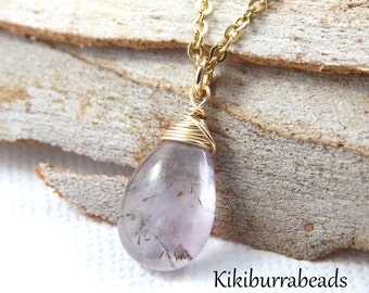 Moss Amethyst Necklace, February Birthstone Necklace, Super 7, Gemstone Necklace, Natural Gemstone