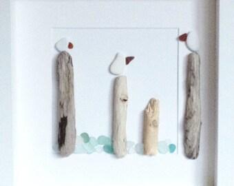 Irish Sea Pottery, Sea Glass and Driftwood Wall Art - Sea Birds on Poles