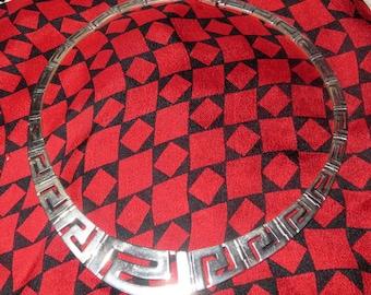 Sterling Silver Greek Key Panel Collar Necklace Choker 49g