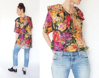 vintage 90s GITANO floral print RUFFLE oversize blouse S-M