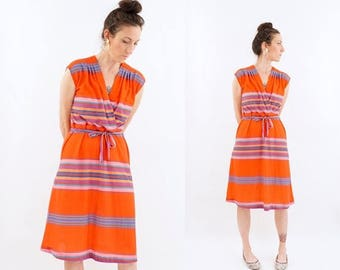 SPRING SALE vintage 80s BOLD color Striped sun dress M