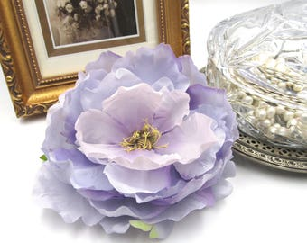 NEW Lavender Peony Flower Barrette - Antique Brass Bumble Bee - Hair Accessory