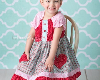 Girls Valentines Dress- Hello Lovely pocket dress- by Melon Monkeys 2017 Collection