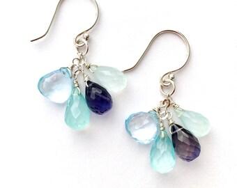 Blue and Violet Gemstone Earrings. Ocean Blue Chalcedony Iolite Topaz Sterling Silver Earrings
