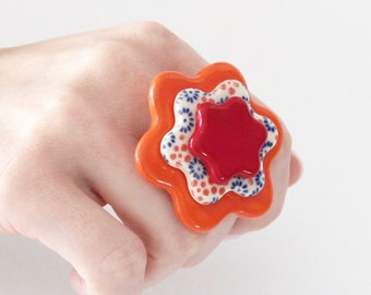 Ceramic ring, Boho Jewelry, Statement Ring - fashion ring, fall fashion, hippy ring, flower ring, gift for her, handmade ring