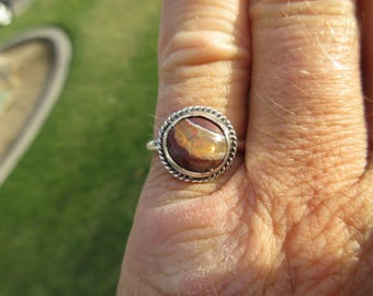 Sterling Silver Mexican Jelly Fire Opal Ring - Size 8 1/2 - Free Resizing