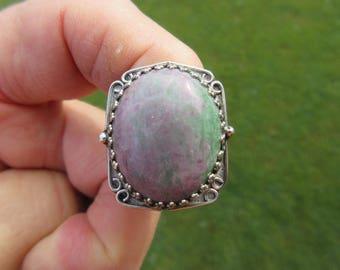 BID BAD and BEAUTIFUL - Sterlihg Silver Rhodochrosite Ring - Size 9 - Free Resizing