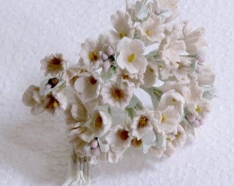 Barbie Bridal Bouquet - Vintage Ivory Velvet Floral Clusters on wrapped wire - Milinery - Barbie Doll Accessory - Barbie Diorama