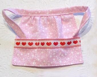Barbie Kitchen Apron Pretty Pink Floral Apron with Hearts on Pockets - Barbie Kitchen Accessory - Barbie Valentine
