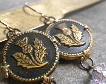 Outlander Jewelry Scottish Thistle  Earrings Niobium Wire