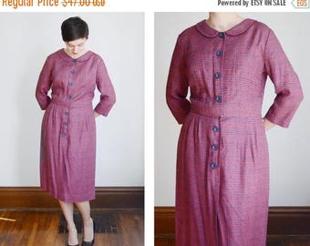 SPRING CLEANING SALE 1950s/1960s Red and Blue Plaid Wiggle Dress - L/Xl