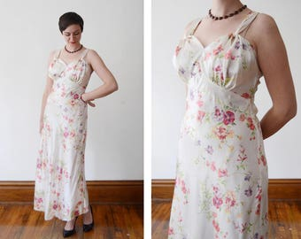 Society Lingerie 1940s Floral Nightgown - M