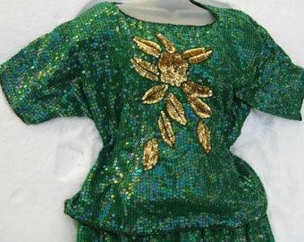 PLUS SIZE Dress Set, JADE Gold Emerald Green Sequined Dress set Silk beaded dress, silk blouse silk skirt, sequin top