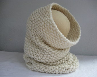 Extra Long Neck Warmer in Soft Merino Wool. Snood or Hood. Hand Knit Circle Scarf. Luxe Winter Accessories for Women and Men.
