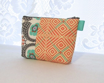 Amy Butler Violette Fabric Gadget Pouch Small Cosmetic Bag Fabric Zipper Pouch Makeup Bag Mod Floral Diamonds Orange Turquoise