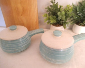 2 vintage Aqua and White Small Casserole dishes with handles ~ Soup dishes ~ USA